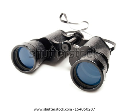 Classic binoculars or spyglass on a white background.