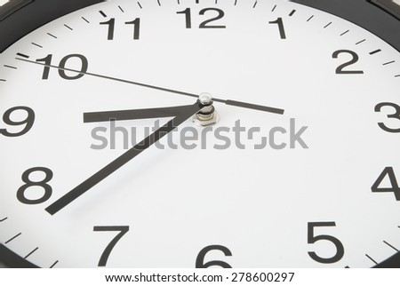 Classic black and white clock close up