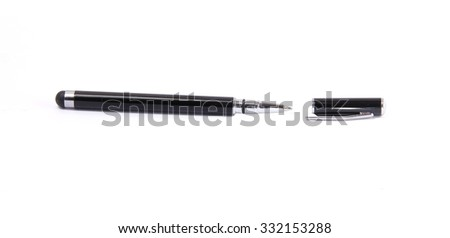 classic black ball pen isolated on white with cap