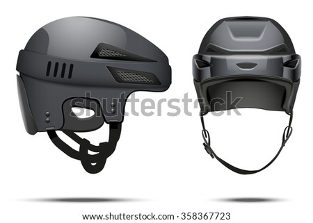 Classic black Hockey Helmet. Front and side view. Sports  illustration isolated on white background.