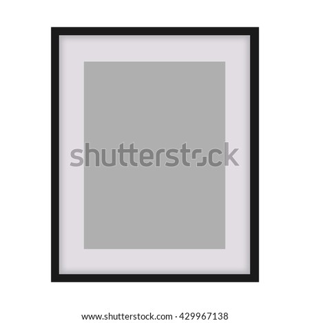 Classic black photo frame. Elegant Design with copy space for placement your text, mock up your product, image, photo inside the frame.  - stock photo