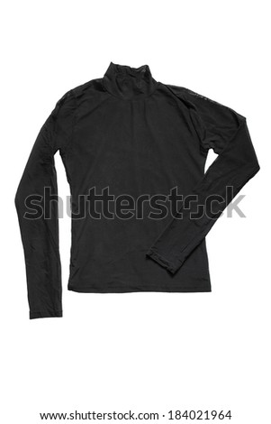Classic black roll-neck pullover isolated over white