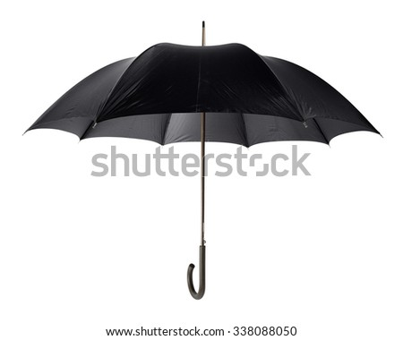 classic black umbrella on white background