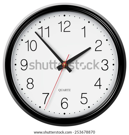 Classic black wall circular clock with round points - stock photo