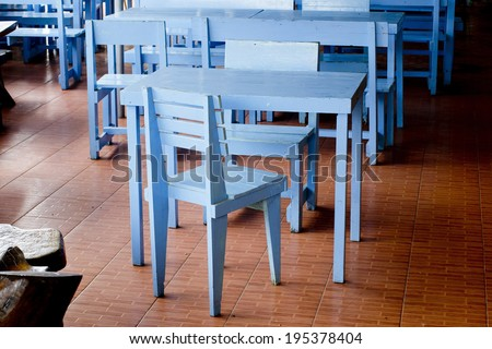 Classic blue chairs and tables - stock photo