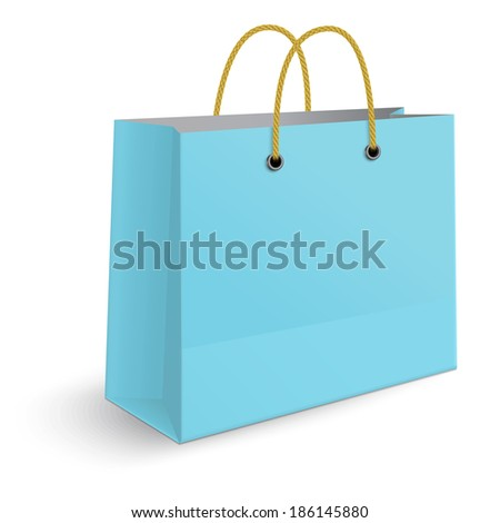 Classic blue paper shopping bag with yellow rope grips isolated on white background. View from one side. Raster version illustration. - stock photo