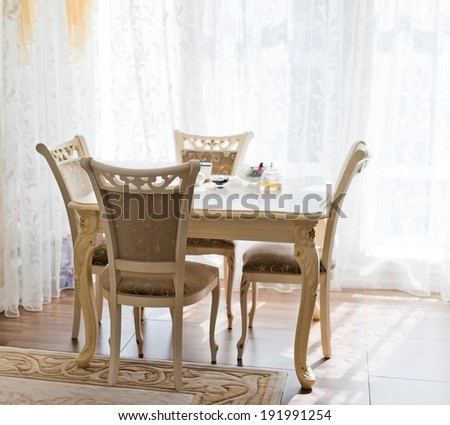 Classic bright Dining Room with table - stock photo