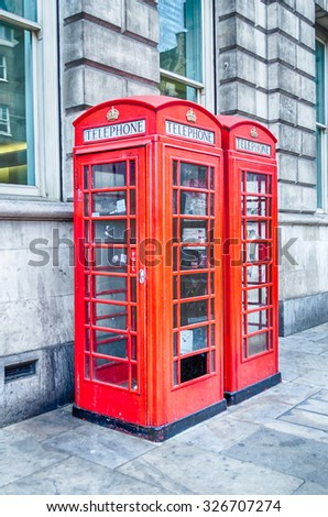 Classic British red phone booth in London UK