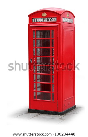 Classic British red phone booth in London UK, isolated on white - stock photo