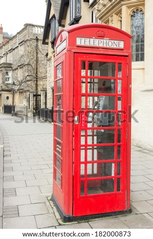 Classic British red phone booth in UK
