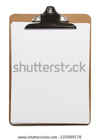 Classic brown clipboard with blank white paper on isolated background. - stock photo