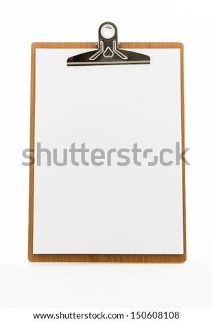 Classic brown clipboard with blank white paper on isolated background