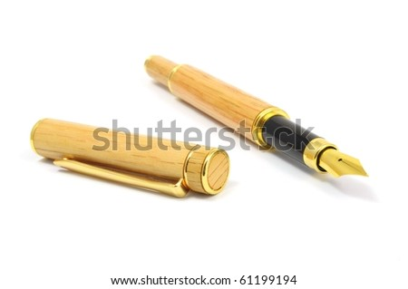 classic brown fountain pen isolated on white background - stock photo