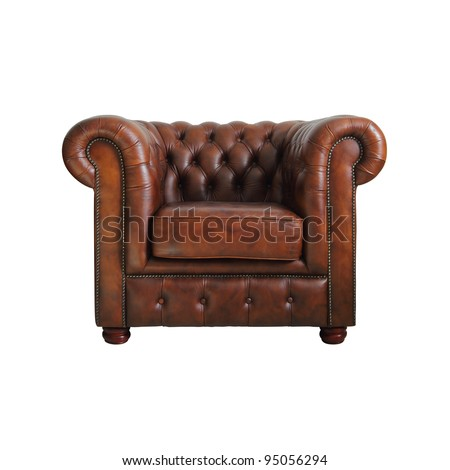 classic brown leather armchair isolated on white background with clipping path