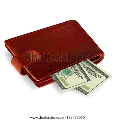 Classic brown leather pocket wallet filled with dollar bills  illustration