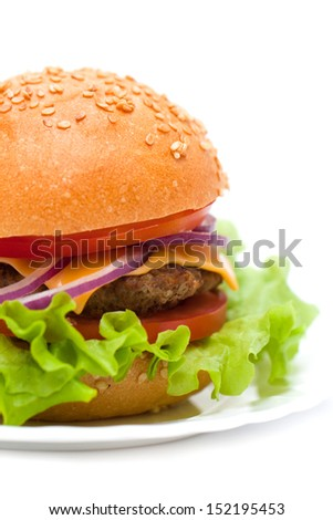 Classic Burger isolated on white background