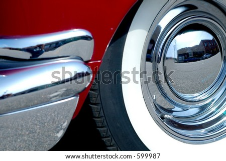 chrome rims with whitewall tire classic car