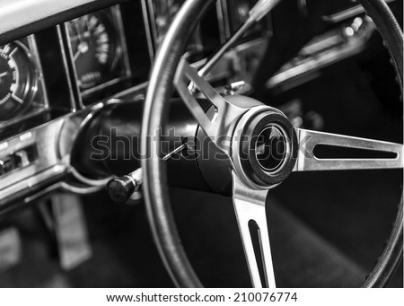 Classic car interior - stock photo