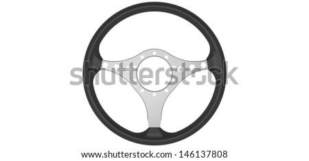 Classic car steering wheel - stock photo