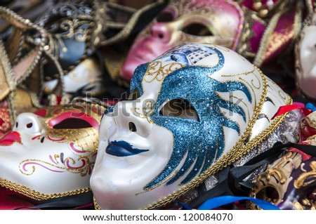 Classic carnival masks for sale in Venice, Italy