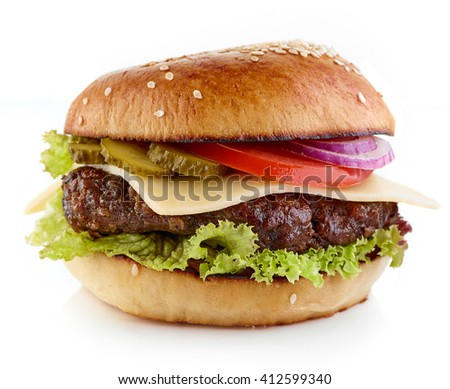 Classic cheeseburger isolated on white background
