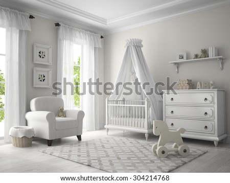 Classic children room white color 3D rendering - stock photo