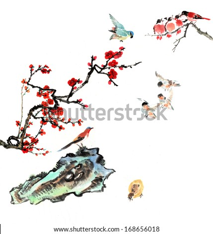 Classic China--Chinese painting--the bird and the plum blossom with stone