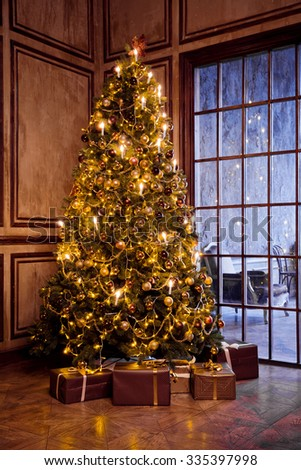 Classic christmas and New Year decorated interior room with presents and New year tree