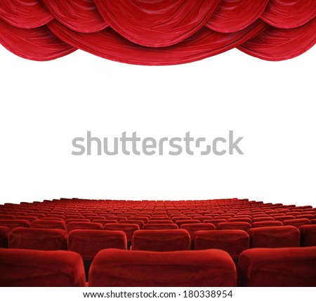 classic cinema with red seats  - stock photo