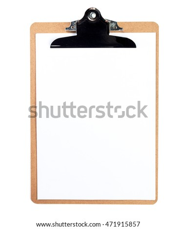 Classic clipboard with blank white paper on isolated background