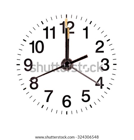 Classic clock face showing twelve o'clock on white background - stock photo