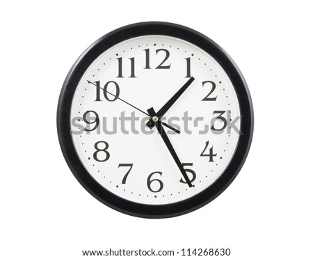 Classic clock isolated on white background - stock photo