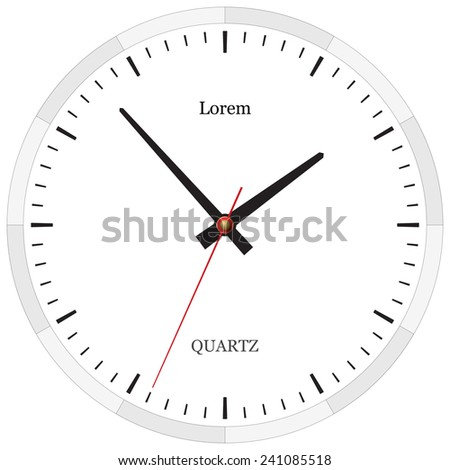 Classic clock without numbers placed on white. Raster version illustration.