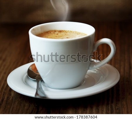 Classic Coffee Cup,Italian Cappuccino, Delicious Coffee Drink - stock photo