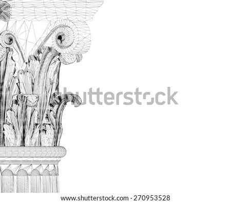 Classic column. Corinthian order, body structure, wire model. 3D illustration - stock photo