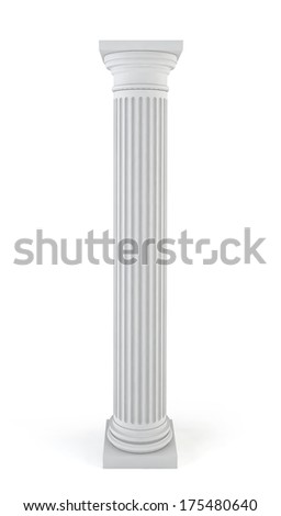 Classic column. 3d illustration on white background