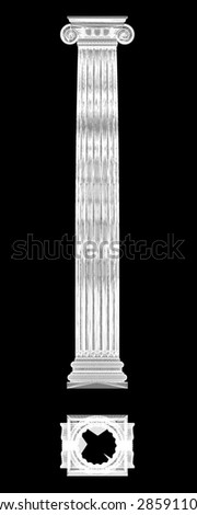 Classic column. Ionic order, body structure, wire model. 3D illustration - stock photo