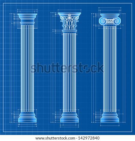 classic columns blueprint sketch, - stock photo