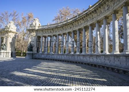 Classic columns gallery, Lake in Retiro park, Madrid Spain - stock photo