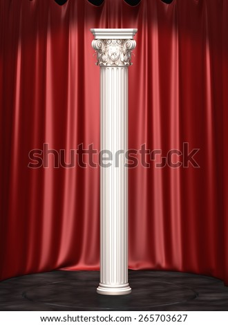 Classic Corinthian Column On Curtains Background