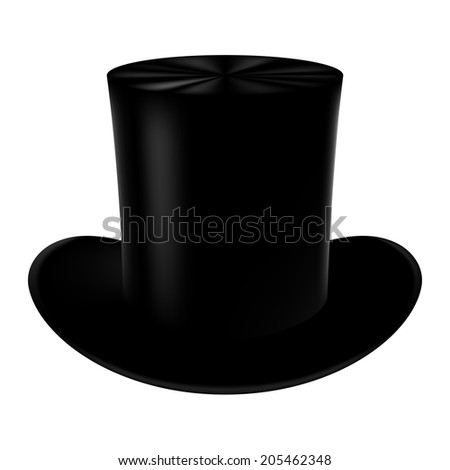 Classic cylinder hat on a white background. - stock photo