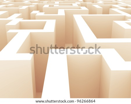 classic 3d maze fine illustration - stock photo