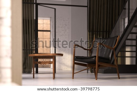 Classic Danish armchair and side table in converted industrial loft (3D render) - stock photo