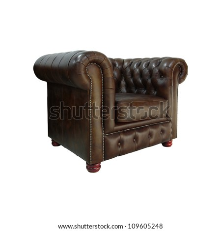 Classic dark brown leather armchair isolated on white background with clipping path. - stock photo