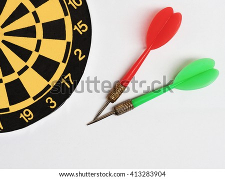 classic dart board with green and red dart arrow on white background, business target, success concept - stock photo