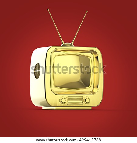 Classic Design Retro TV golden shiny glossy isolated with soft shadow 3d render
