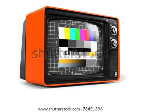 Classic Design Retro TV with orange plastic shell and test image screen / Retro TV / on white with soft shadow - stock photo