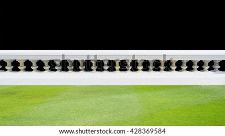 Classic design white beautiful banister railing for building or house for exterior ardchitecture and landscape garden with black background isolated - stock photo