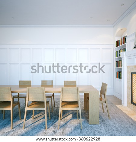 Classic domestic library with wooden furniture and fireplace. 3d render - stock photo
