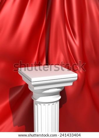 Classic Doric Column on Red Cloth Background - stock photo